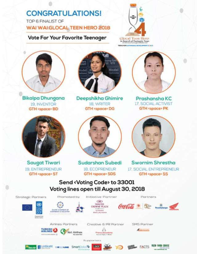 Wai Wai Glocal Teen Hero 2018 Top 6 Finalists Announced