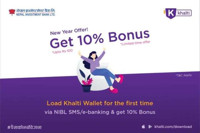 Khalti's 10 Percent Bonus Offer for NIBL Customers