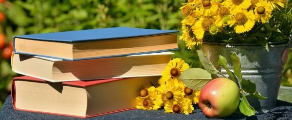 autumn book stack with apple