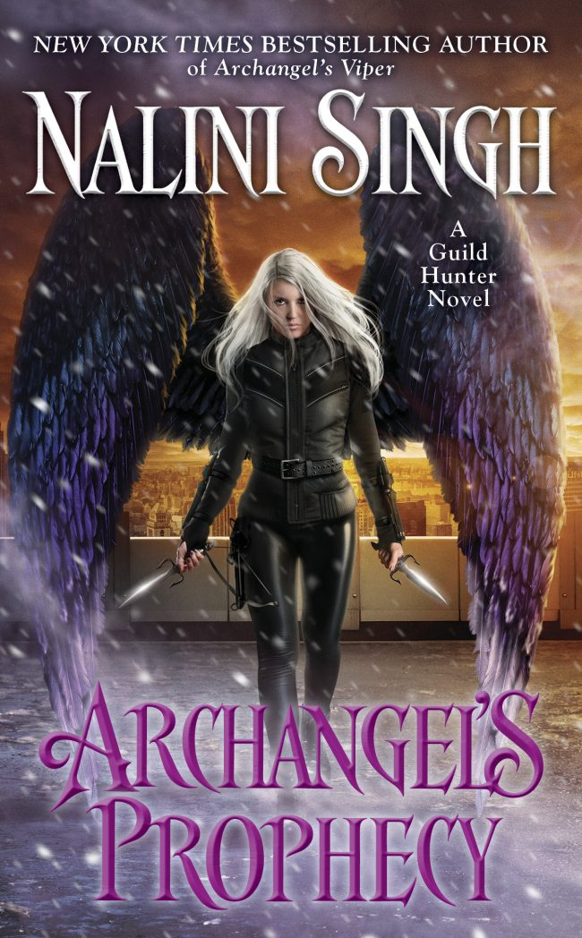 Archangel's Prophecy cover featuring Elena, wings spread, carrying knives