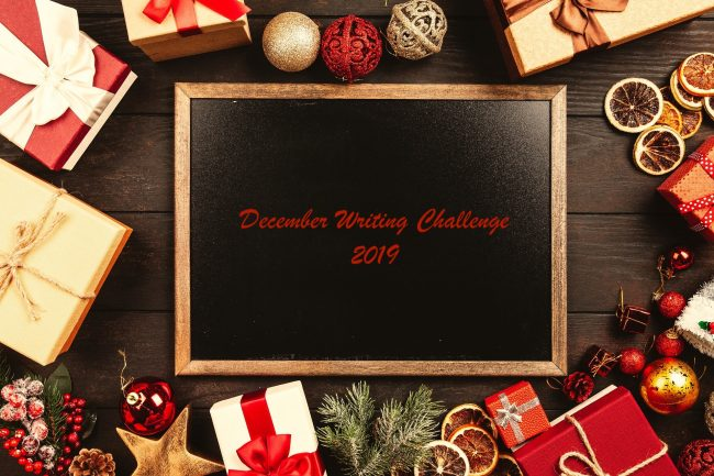 December Writing Challenge 2019 banner on a chalkboard