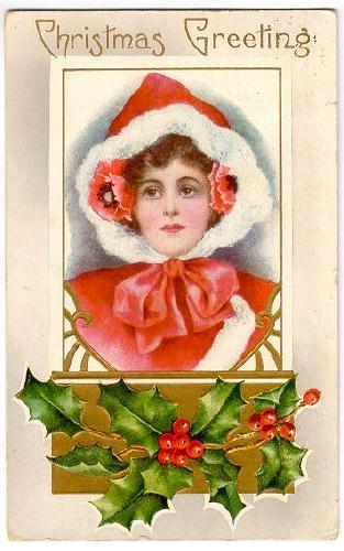 CHRISTMAS Christmas Greeting Girl In Red Hood With Fur