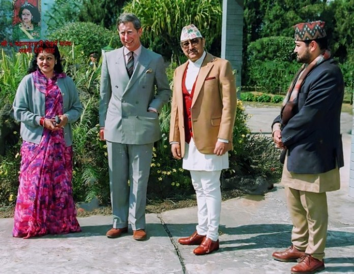 King and Queen of Nepal accompanied by H.R.H. The Crown Prince of Nepal with The Prince of Wales in Pokhara on February 8,1998.