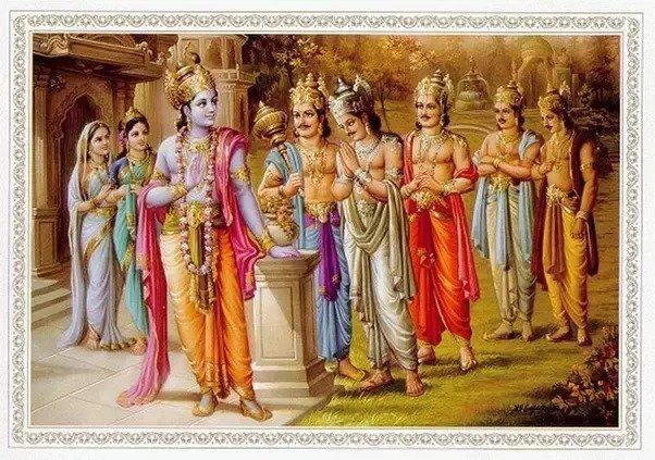 Lord Krishna with Pandavas.