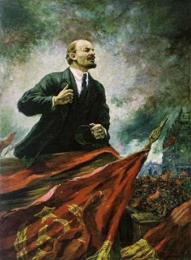 Alexander Herasimov, V.Lenin at the Rostrum. Oil, canvas. 280x210. 1930. State History Museum, Moscow. Socialist realism. Picture taken from here: http://webstarco.narod.ru/style/big/gerasimov.html