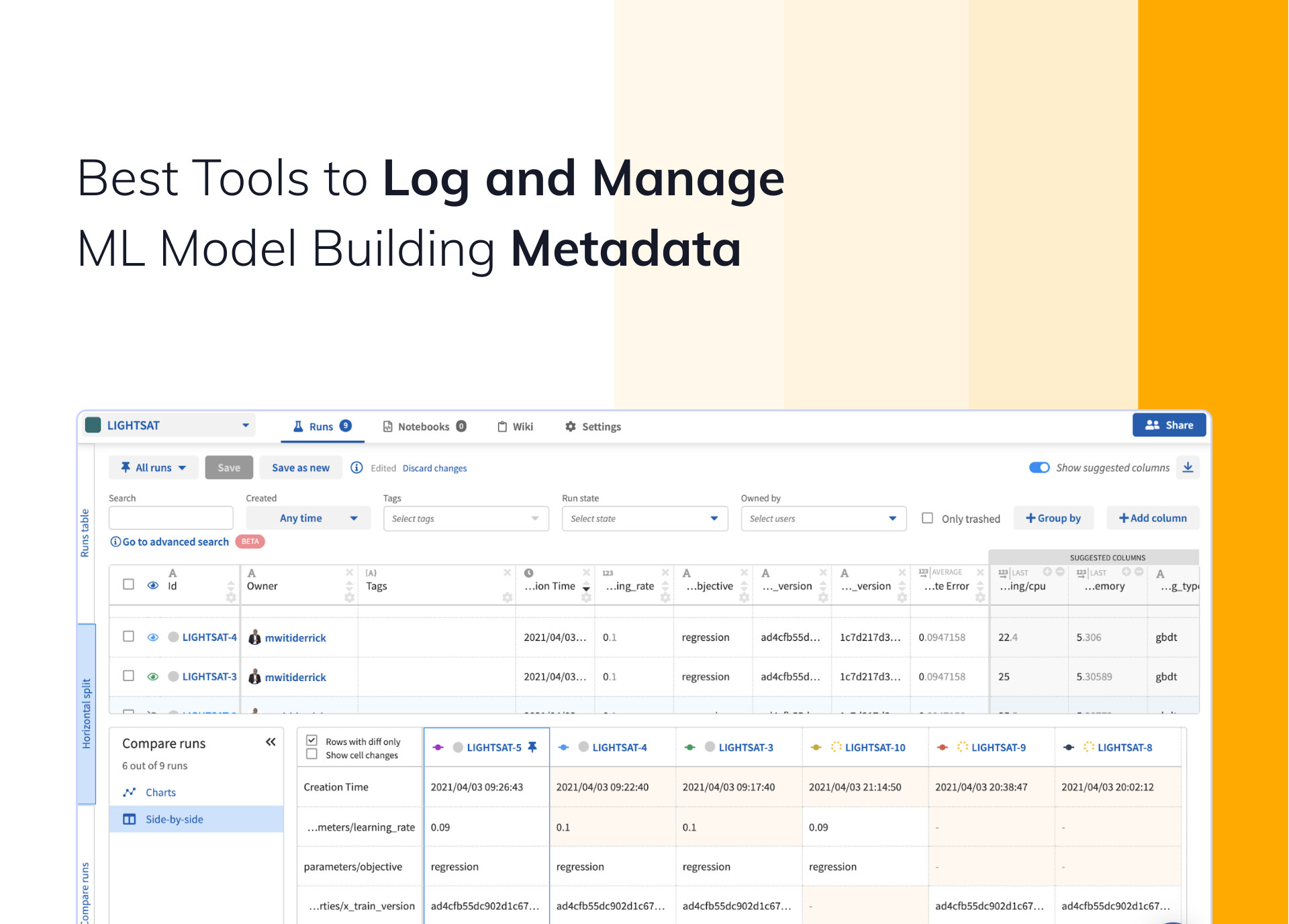 Best Tools to Log and Manage ML Model Building Metadata