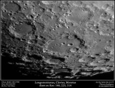 La région de Clavius setup: Orion MAK 180/2700, ZWO ASI 224MC, Filtre IR Pro 742 sélection de 3000 images