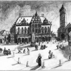 Marktplatz, Sicht von der Böttcherstraße damals