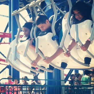 DeeDee and Eric riding the Soarin' Eagle in Coney Island's @LunaParkNYC