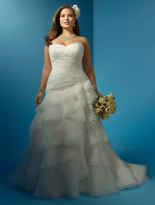 Alfred Angelo Style 2123W Organza, Re-Embroidered Lace, Rhinestones, Crystal Beading & Sequins Optional Modesty Piece & Spaghetti Straps Chapel Train Sizes: 0 to 26W