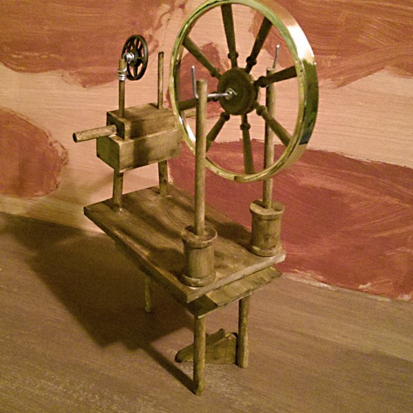 SpinningWheel, spinning wheel, miniature, rumplestiltskin, fairy tale, storybook, picturebook, picture book, dimensional illustration, dimensional illustrator, art doll, ooak, folk lore, folklore