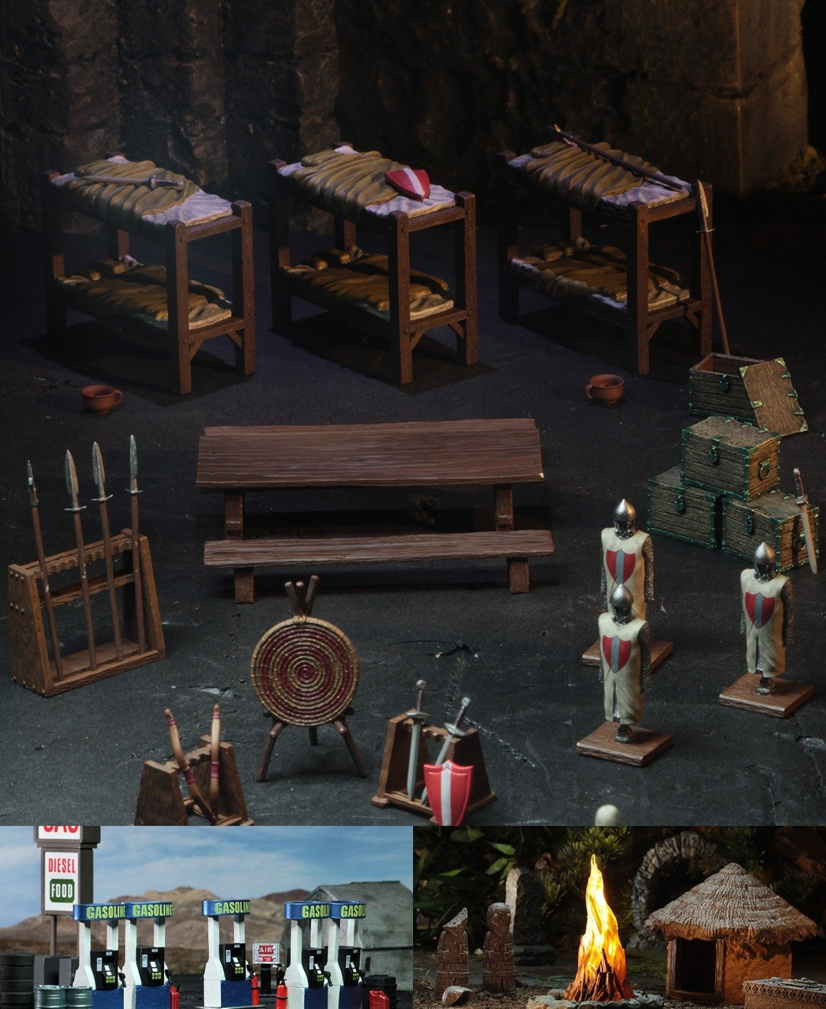 WizKids 4D settings castle barracks jungle shrine gas station