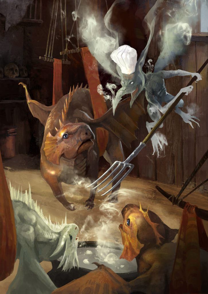 In Crones and Their Cravings 5E D&D adventurers rescue dragon wyrmlings from the clutches of a Picnic Hag coven and their nasty Steam Mephit chef. The challenge rating system makes this a Hard encounter for 11th level characters.