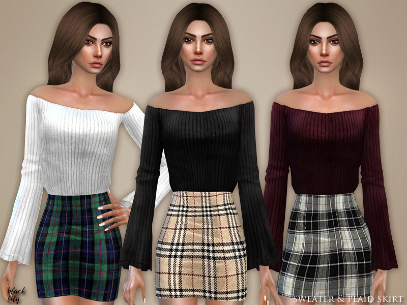 Sweater and Plaid Skirt by Black Lily