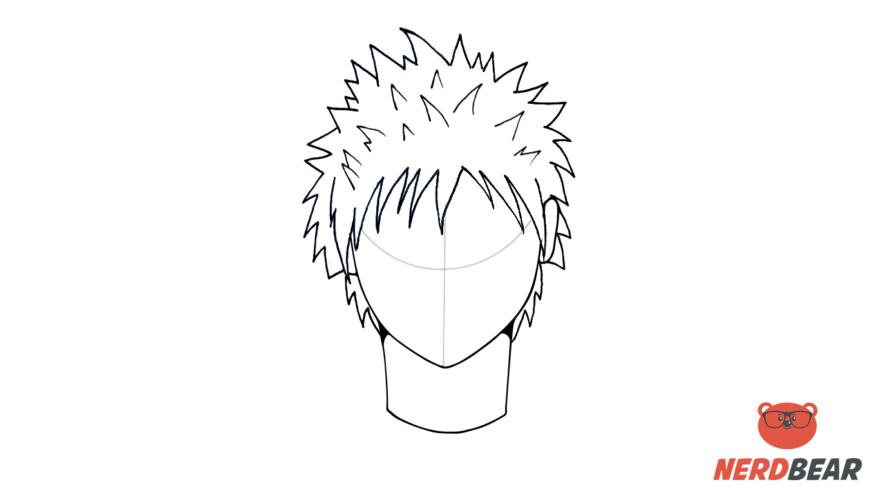 How To Draw Male Anime Hair Spiky Hair 6