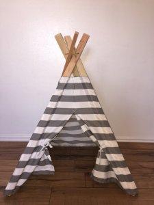 Grey and White Kids Teepee Play Tent - TinyTeePee