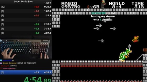 Twitch footage from the speed record of Super Mario Bros., which is won on April 7, 2021.