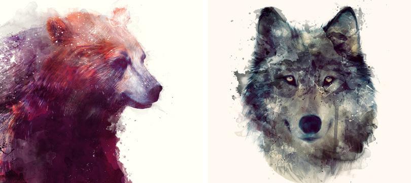 Os animais em aquarela de Amy Hamilton