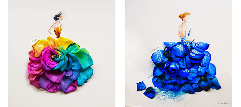 Artista usa flores para compor suas pinturas