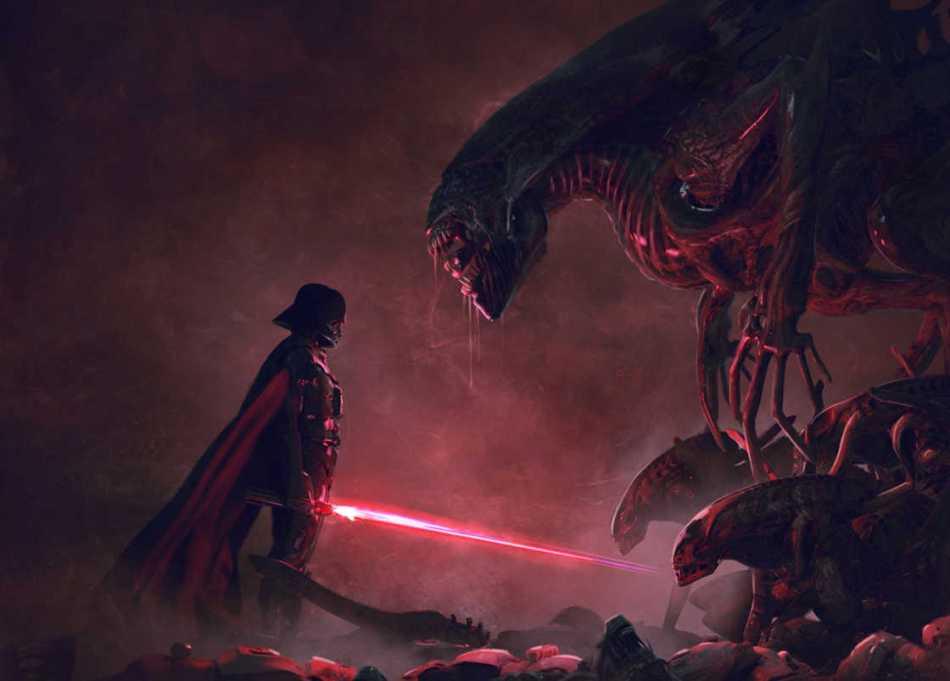 Star Wars e Aliens se juntam na arte de Guillem H. Pongiluppi
