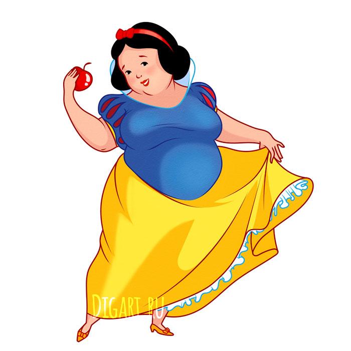 Artista retrata princesas Disney gordinhas