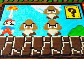 Mario em dominó celebra lançamento de Super Mario Maker 2