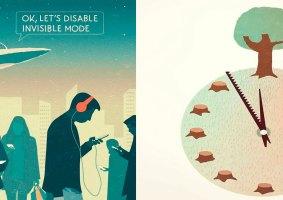 Os problemas da sociedade moderna em ilustrações