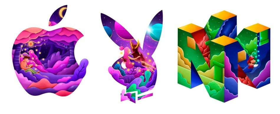 Logotipos de empresas recriados com suas identidades