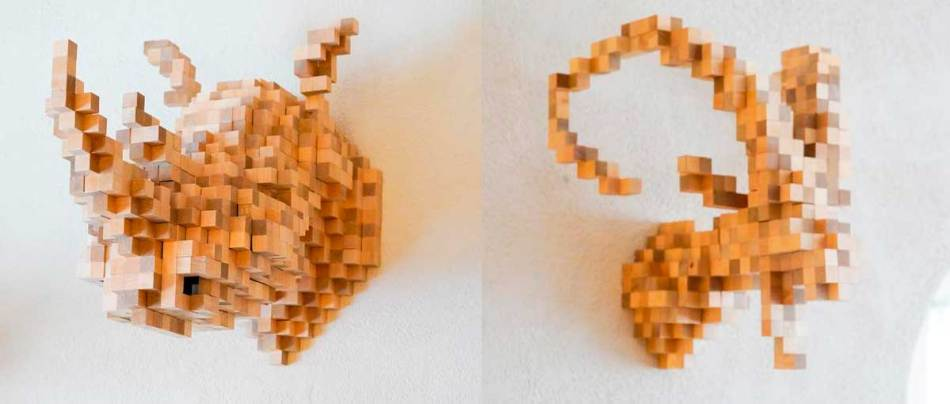 Uma mistura de taxidermia com pixels