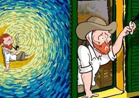 A vida de Van Gogh em ilustrações estilo cartoon
