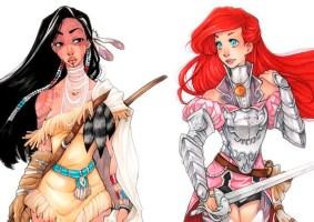 Princesas Disney como Guerreiras em armaduras