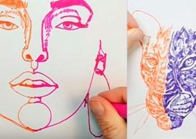 Retratos coloridos feitos com as duas mãos ao mesmo tempo