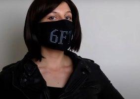 Máscara com LED mostra mensagens animadas
