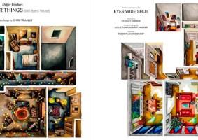 Pinturas aquarelas de casas de filmes e séries