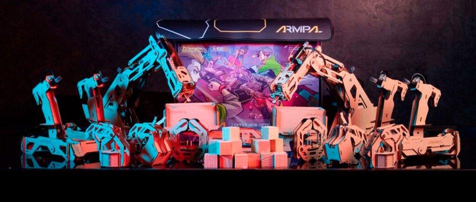 Um jogo de tabuleiro de robôs e guindastes de madeira em 3D
