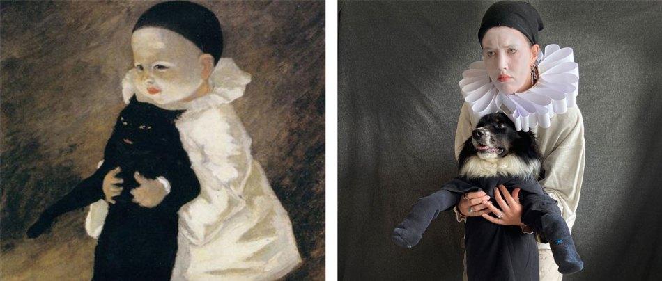 Artista e seu cão recriam quadros históricos em projeto fotográfico
