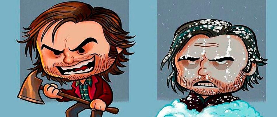 O antes e depois de heróis e vilões do cinema em ilustrações
