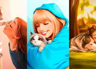 Ilustradora mostra como é bom ter animais por perto em lindas artes