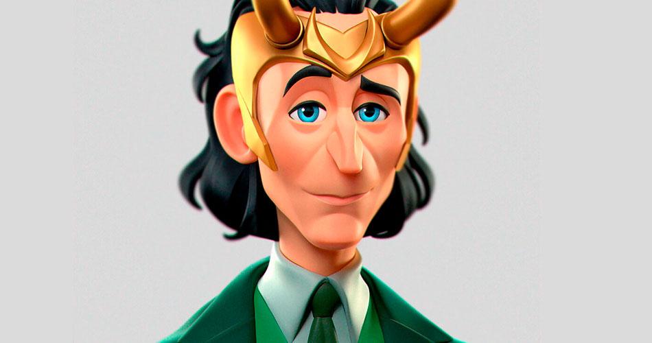 Loki em cartoon e outros personagens, por Gabriel Soares