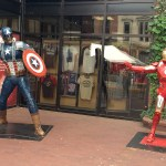 Statues made from recyled car parts depict faceoff between Iron Man and Captain America.