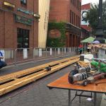 Power tools on a rough wood race track controlled by remote.