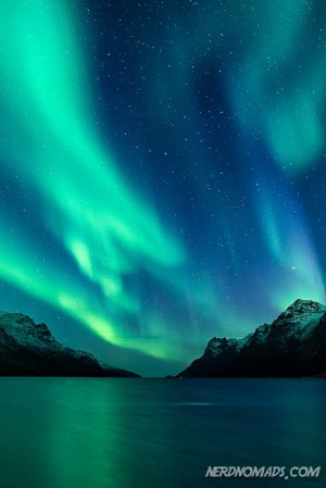 Northern Lights in Ersfjord, Tromso.
