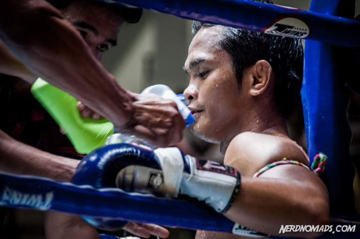 A Muay Thai fighter wearing armbands, known as Prajioud
