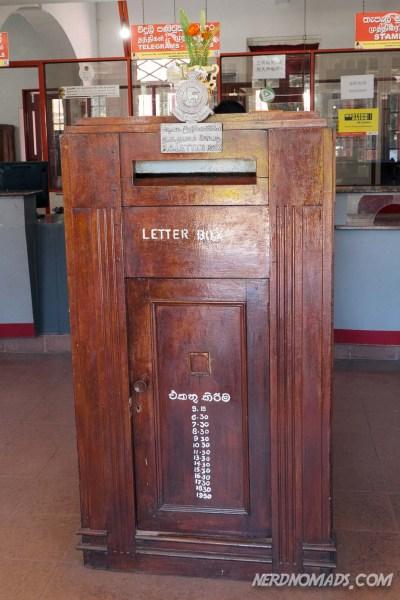The letter box inside Nuwara Eliya post office