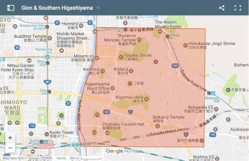 Gion and Southern Higashiyama area map