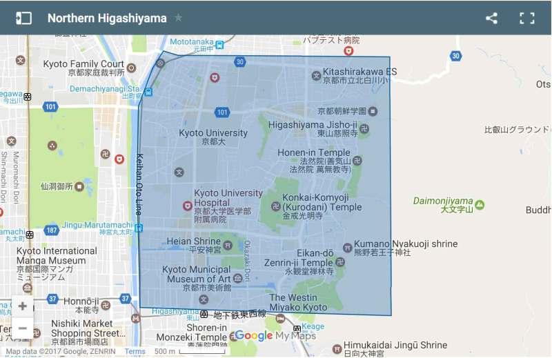 Northern Higashiyama area map