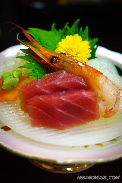 Sashimi tuna and shrimp