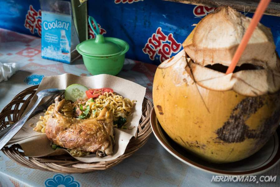 We ended our visit to Prambanan temple with a crispy grilled chicken and a fresh coconut. Delicious!