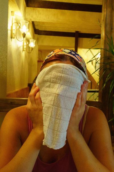 Do NOT do this with the towel like this crazy woman (Eh...me) does! Very very bad and impolite!