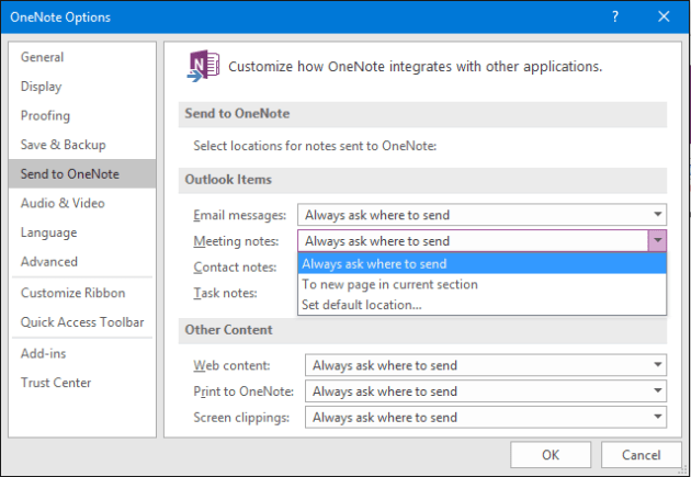 Send to OneNote Settings